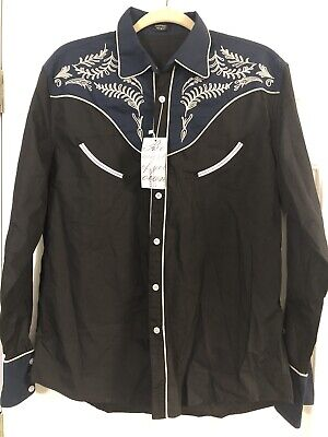 $45 • Buy Coofandy Mens Sz M Embroidered Western Shirt Feathers Piping Black New With Tags