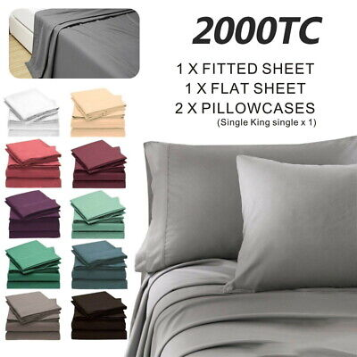 AU26.80 • Buy 2000TC Ultra SOFT - 4 Pcs FLAT & FITTED Sheet Set Queen/King/Super Size Bed New