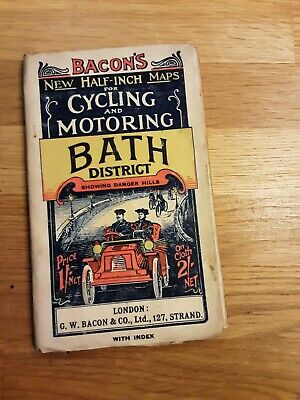 £9.99 • Buy Bath - Vintage Bacon's Half Inch Map For Cycling & Motoring Of Bath District