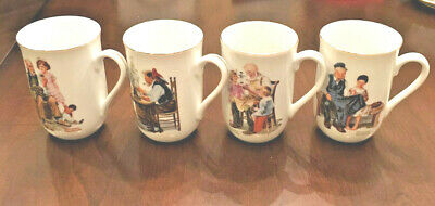 $ CDN9.67 • Buy Set Of 4 Different 1982 Norman Rockwell Collectible Mugs With Gold Rim, Japan