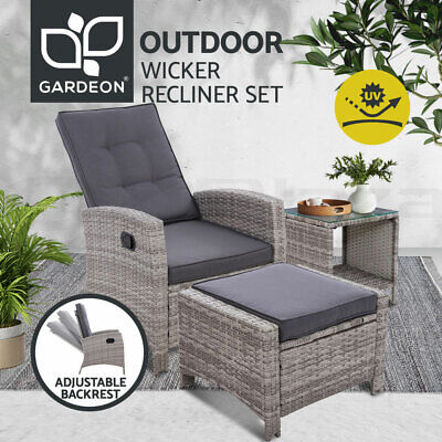 AU299.90 • Buy Gardeon Outdoor Setting Recliner Chair Table Set Wicker Lounge Patio Furniture