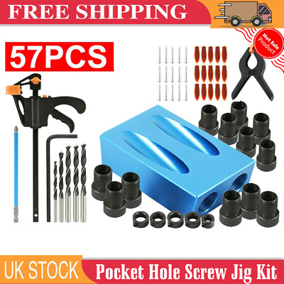 £11.69 • Buy Silverline Pocket Hole Screw Jig Kit Woodworking Guide Drill Angle Locator 57pcs