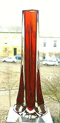 £16 • Buy WHITEFRIARS RUBY RED GLASS TRICON VASE Geoffrey Baxter 9570