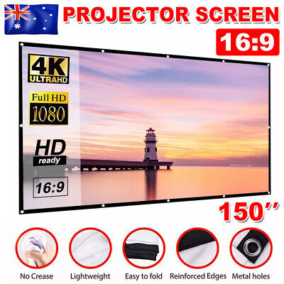 AU23.95 • Buy 150  Foldable Projector Screen 16:9 Portable 3D Cinema Outdoor Home Movie White