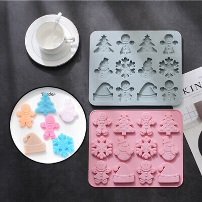 £3.29 • Buy Silicone Christmas Tree Snowflakes Chocolate Mould Cake Ice Tray Wax Baking Mold