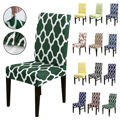 £3.99 • Buy Printing Dining Chair Seat Covers Slip Stretch Wedding Banquet Party Removable