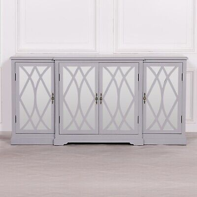 £449 • Buy SECONDS French Style Grey Breakfront Mirrored Sideboard Buffet Cupboard Cabinet