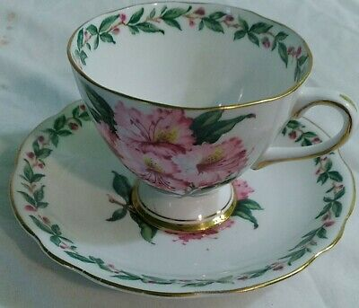 £9.34 • Buy Vintage Gladstone Laurel Time Hibiscus England Cup Saucer Green Red Gold Trim