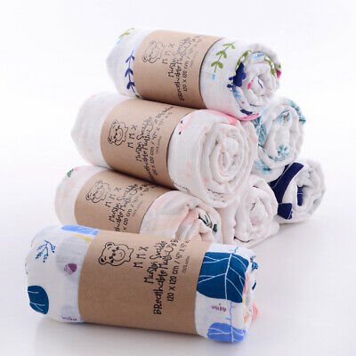 £5.99 • Buy 110cm Large Breathable 100% Cotton Baby Muslin Swaddle Cloth Blanket Wrap Square