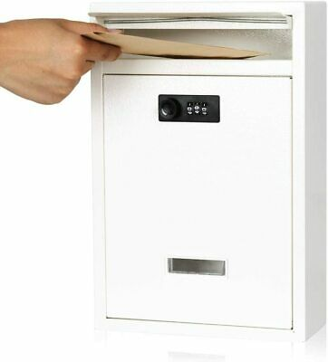 $27.97 • Buy Locking Mailboxes Wall Mounted Vertical Combination Lock Drop Mail Box Large Cap