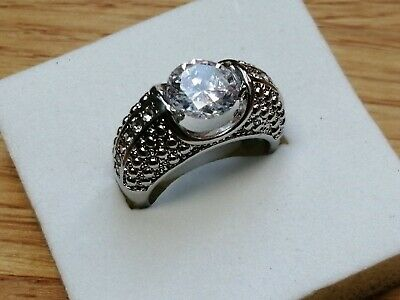 £6.50 • Buy Stunning 925 Sterling Silver 2Ct Simulated Diamond Dress Ring Size K