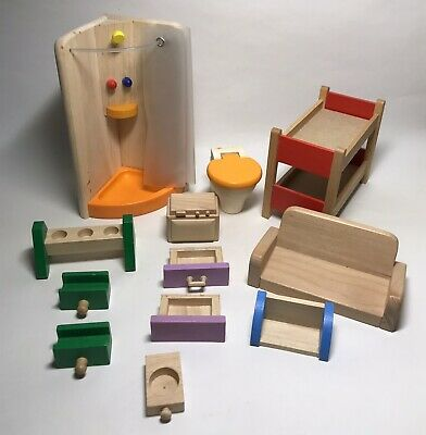 £12 • Buy Pintoy Wooden Dolls House Furniture-Bathroom Set And Accessories