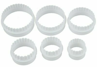 £2.99 • Buy 6 Pack Cookie Scone Cutters Twin Edge Crinkle Round Cake Sugar Craft Pastry Bake