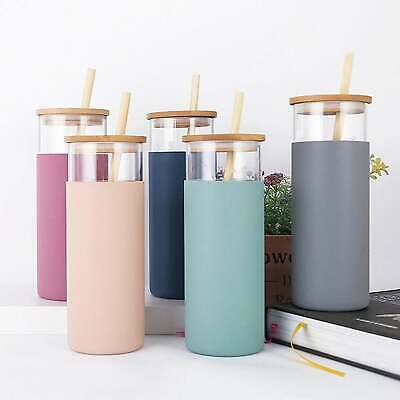 £8.99 • Buy Glass Water Bottle With Silicone Sleeve & Free Bamboo Straw