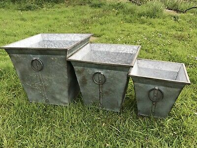 £75 • Buy Set Of 3 Galvanised Steel Planters With Ring Handles New
