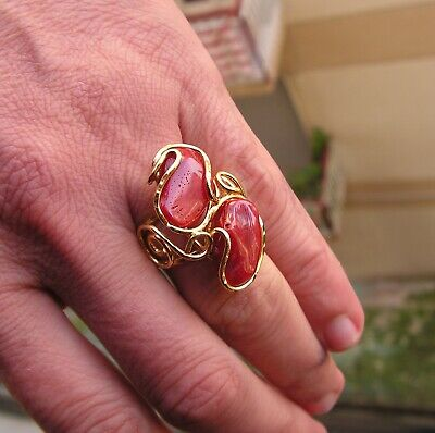 £0.91 • Buy Red  Coral Gem 2 Ring In Silver Yellow Gold Size  8 Gem . 22 X 16 Made In Italy