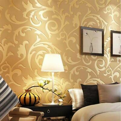 £6.99 • Buy 3D Luxury Gold Damask Embossed Wallpaper Rolls Feature TV Background 10M