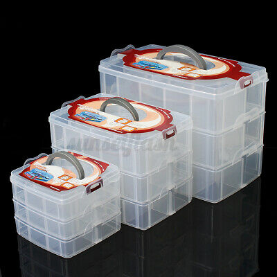 £13.15 • Buy Clear Compartment Box Transparent Plastic Storage 3 Layer Divider Large Craft UK