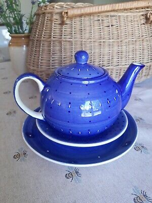 £8.99 • Buy Whittard Of Chelsea Clipper Blue Tea Pot And Plates Spots / Dots