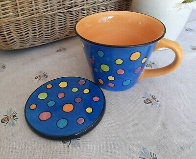 £12.99 • Buy  Whittard Of Chelsea Large Mug And Coaster Hand Painted Spotty Blue