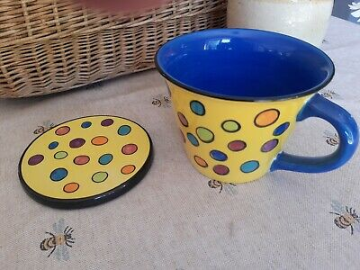 £12.99 • Buy  Whittard Of Chelsea Large Mug And Coaster Hand Painted Spotty Yellow