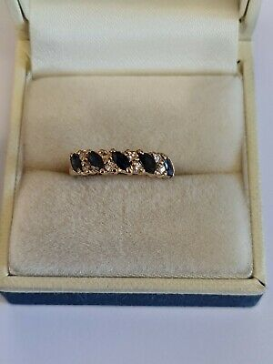 £80 • Buy 9ct Yellow Gold Sapphires And Diamonds Ring