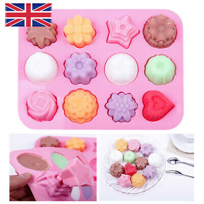 £1.98 • Buy 12 Cell Flower Cake Jelly Cookies Soap Mold Tray Wax Ice Chocolate Baking Mould