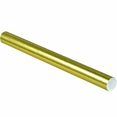 $97.57 • Buy Partners Brand PP2024GO Mailing Tubes With Caps 2  X 24  Gold Pack Of 50