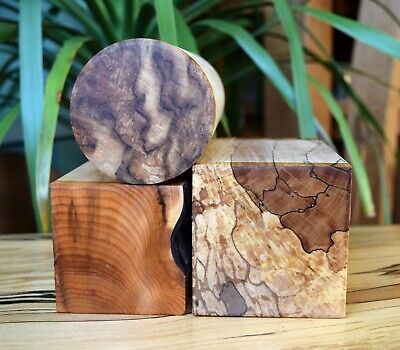 £22 • Buy Woodturning Blanks X3 Woods Yew/Spalted Beech/Sycamore 175x76mm 1.5kg Seasoned