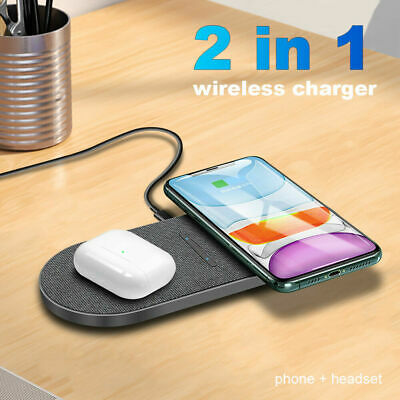 AU19.59 • Buy AU 20W Qi Wireless Charger Mat Pad Dual Charging Dock For Apple AirPods IPhone
