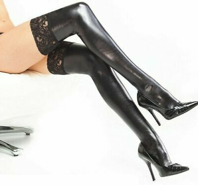 £5.99 • Buy Sexy Women Lady PU Leather Wet Look Thigh High Stockings With Lace Stay-up Gift