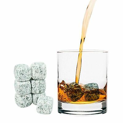 £7.79 • Buy 9 Pcs Whisky Rocks Ice Stones Drinks Cooler Cubes Whiskey Granite Scotch & Pouch