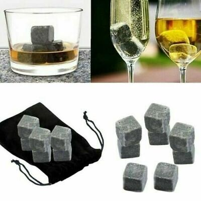 £7.69 • Buy 9 Pcs Whisky Rocks Ice Stones Drinks Cooler Cubes Whiskey Granite Scotch & Pouch