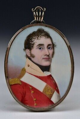 $1195 • Buy Miniature Portrait Painting British Red Coat Military Officer Frederick Buck