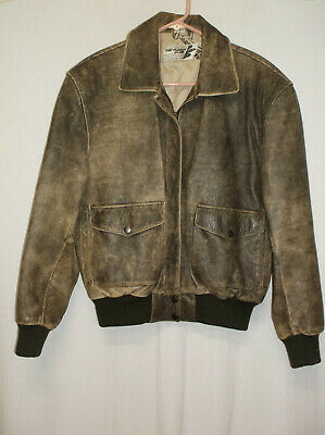 $56.96 • Buy The Flight Club Men's Leather Bomber Jacket Size S Brown Distressed Vintage Coat