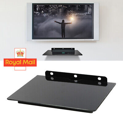 £4.59 • Buy 1 Tier Glass Floating Wall Mount Shelf DVD Player Box PS4 Game Console Black