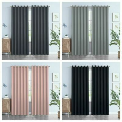 £12.99 • Buy Thick Thermal Blackout Curtains Eyelet Ring Top Heavy Ready Made Pair +Tie Backs
