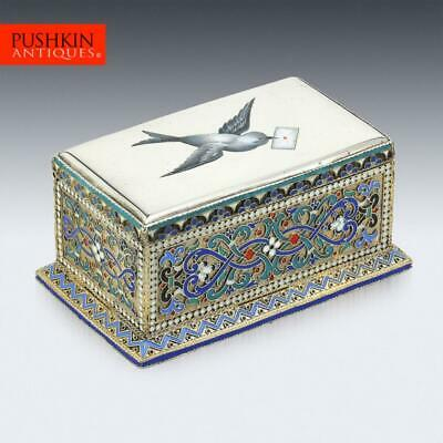 £3495 • Buy ANTIQUE 19thC RUSSIAN SOLID SILVER & ENAMEL STAMP BOX C.1888