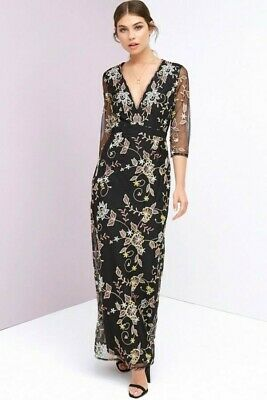 £14.99 • Buy Little Mistress NWT UK Size 8 Black & Gold Embroidered Lace Lined Maxi Dress