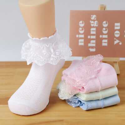 £5.99 • Buy 6 Pairs Baby Girls Lace Princess Socks  Ruffled Cotton Ankle School Frilly Sock