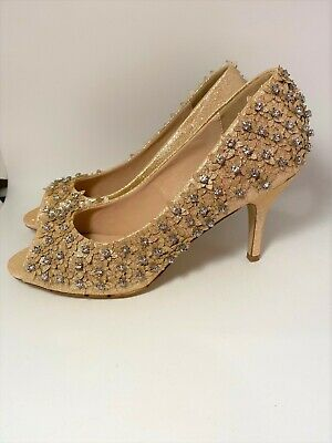 £3.33 • Buy Rose Gold Flower Diamante Detail Peep Toe Court Shoes High Heel Size 6 NEW