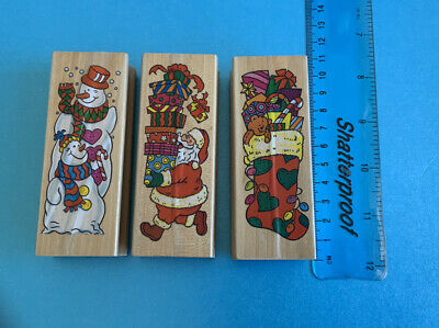 £3.95 • Buy Quality Wooden Rubber Stamps Set Of 3 Christmas Theme New
