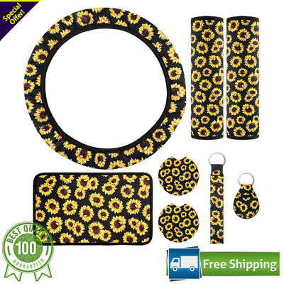 $12.06 • Buy 8 Pieces Sunflower Car Accessories Sunflower Steering Wheel Cover For Women NEW