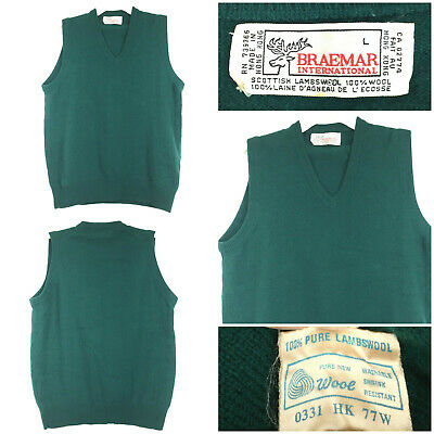 $47.30 • Buy Vtg Braemar Mens Large (42 In Chest) Green Pure Lambs Wool V-Neck Sweater Vest
