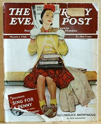 $ CDN280.09 • Buy Saturday Evening Post - March 1, 1941 - Norman Rockwell - Alcoholics Anonymous
