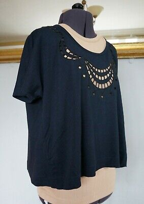 £22 • Buy Marc By Marc Jacobs Navy Cotton T-shirt Top Cut-out Detail Cropped UK 6 8 10 S