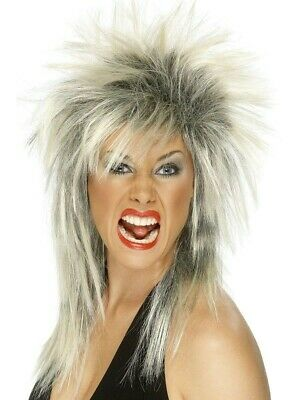 £7.49 • Buy Silver Glam Rock Wig 80's Tina Turner Fancy Dress Costume Accessory