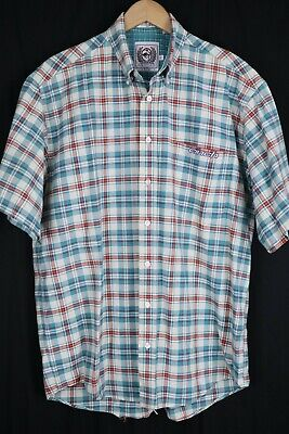 $0.99 • Buy Cinch Mens Sz Large White Teal Blue Check SS Embroidered Btn Up Shirt