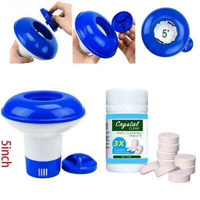 £9.59 • Buy 100X Pool Cleaning Tablets With Floating Chlorine Hot Tub Dispenser Chemical Kit