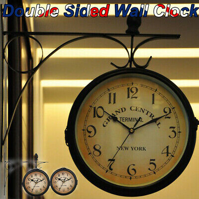 £12.89 • Buy Outdoor Garden Gentral Station Wall Clock Rotate Double Sided Bracket Vintage